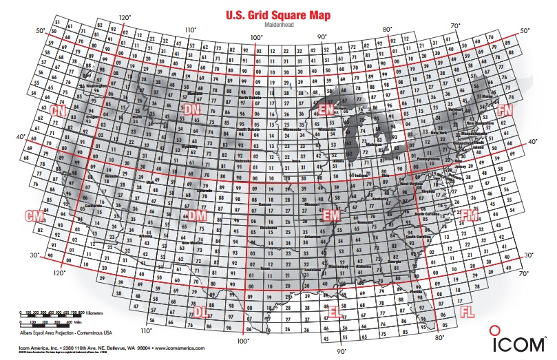 Usa Amateur Grid Square Map From Icom