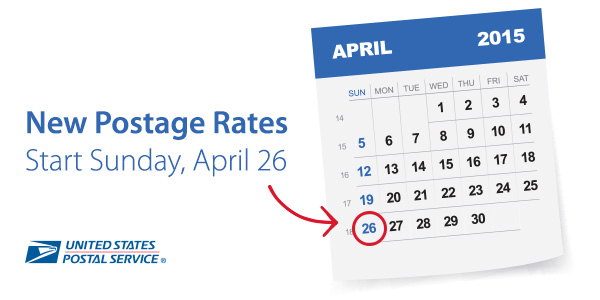 USPS Announces Postage Rate Increase – Starts April 26, 2015
