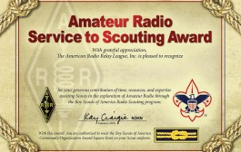 ARRL Recognizing Amateur Radio Service to Scouting Award Winners with Certificate
