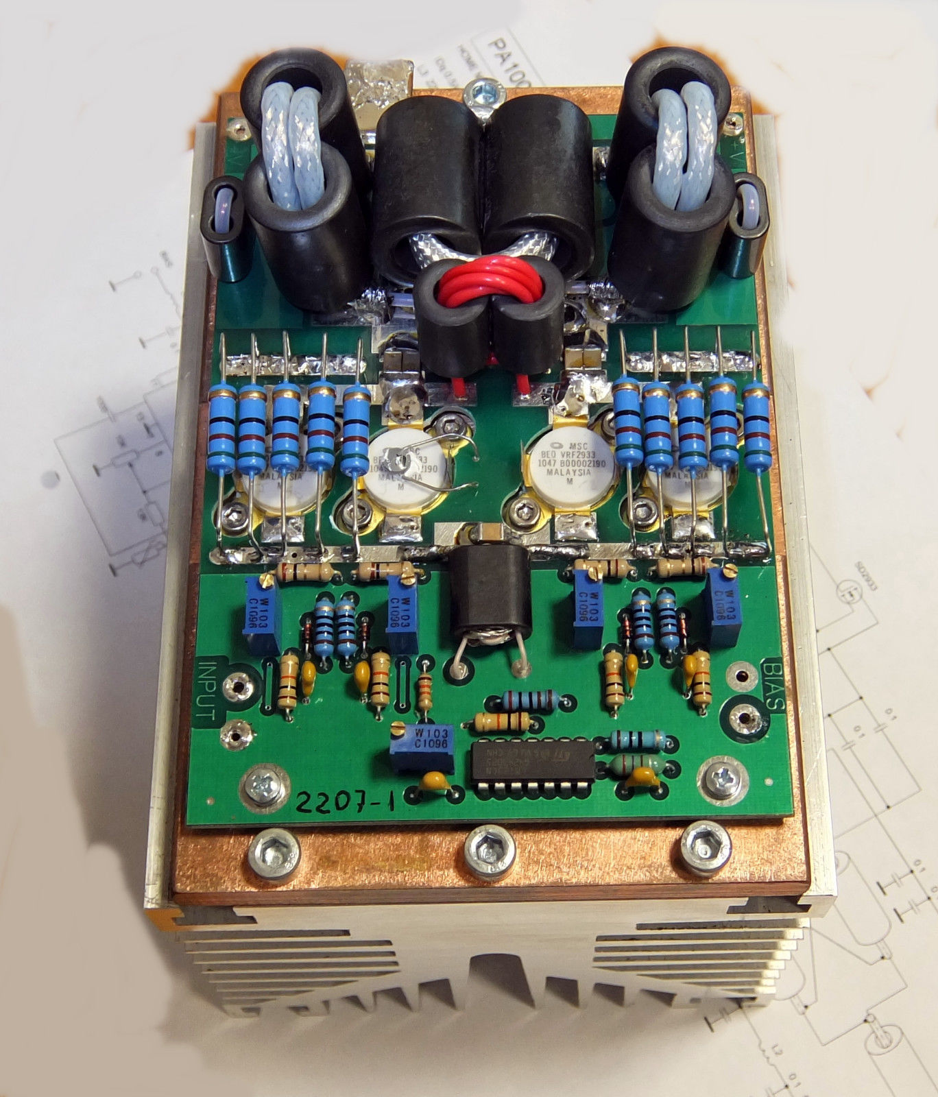 PA1000W SSB/CW 1.8-30 MHz with copper plate and aluminum heatsink
