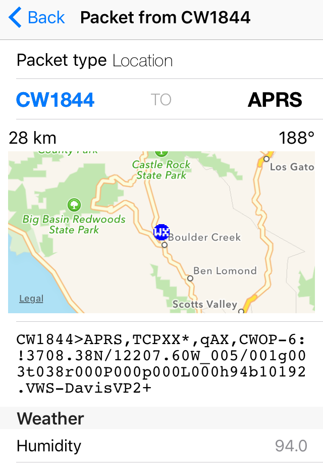 Free APRS application for iOS