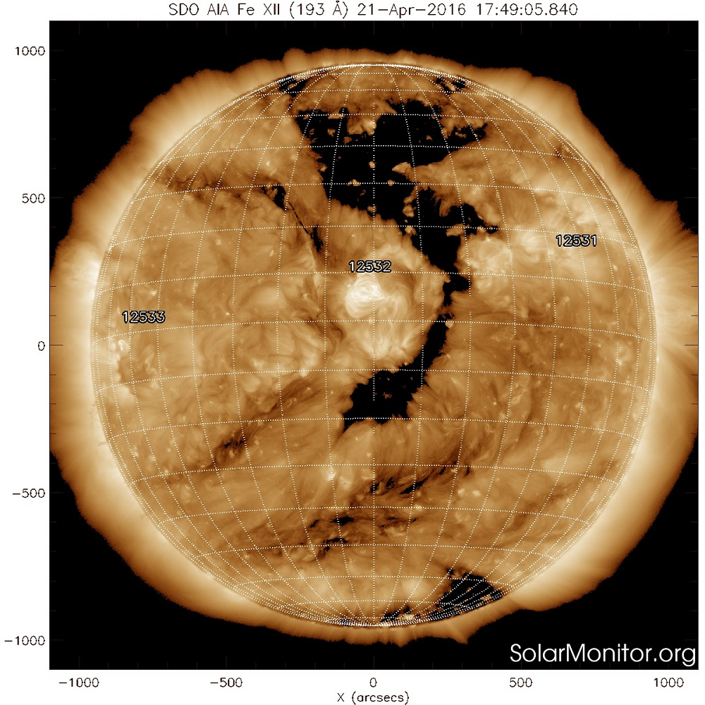 G1 (MINOR) GEOMAGNETIC STORMS LIKELY ON 23 APRIL 2016