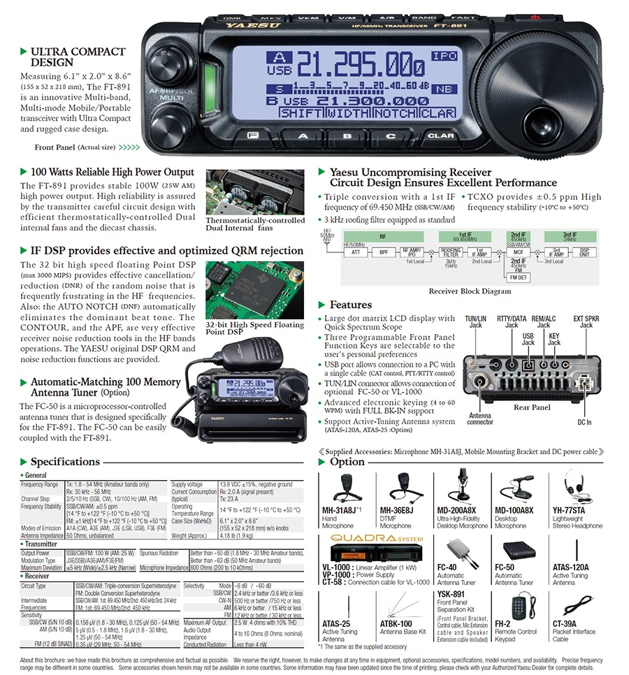 The Yaesu Ft 891 Specifications