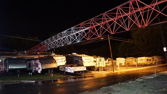 180-foot radio tower comes down during storms in Russiaville