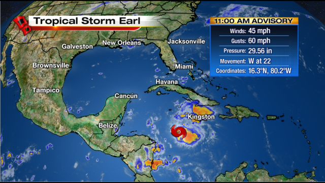 Carribean Tropical Storm Earl – Emergency activities