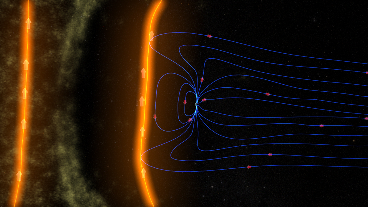 An illustration of Earth's magnetic field shielding our planet from solar particles. Credit: NASA/GSFC/SVS