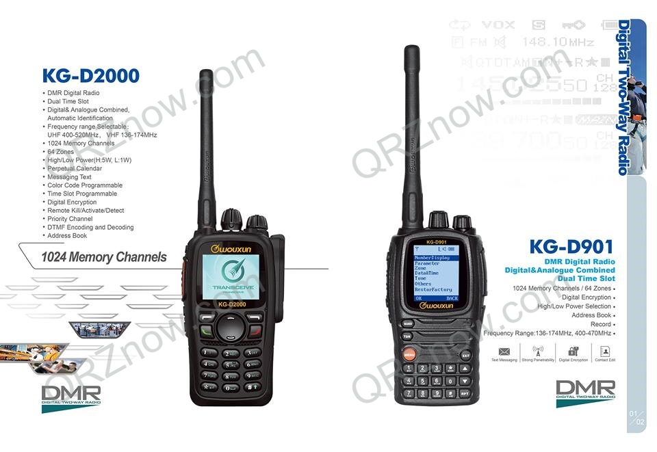 New ! Wouxun KG-D2000 and KG-D901 DMR APRS GPS - 10 Watts