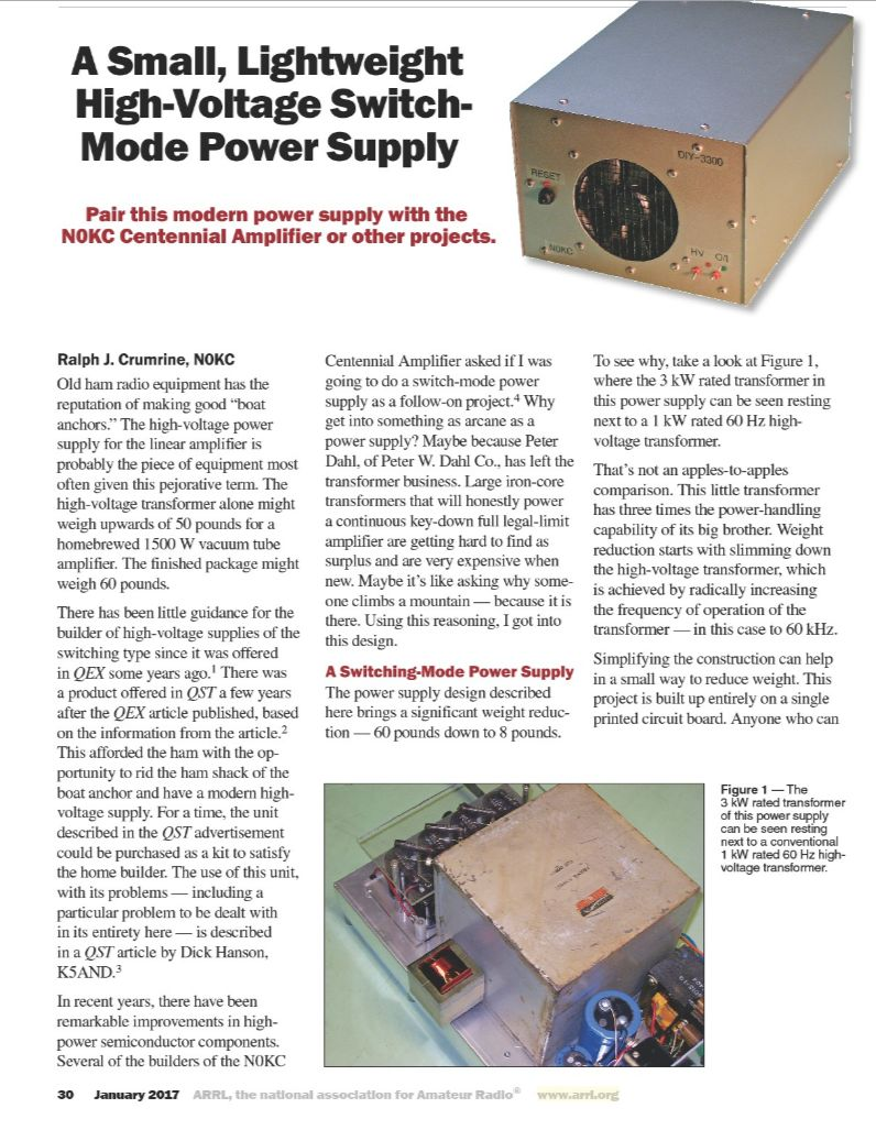 A Small, Lightweight Switch-Mode Power Supply by Ralph J. Crumrine, N0KC