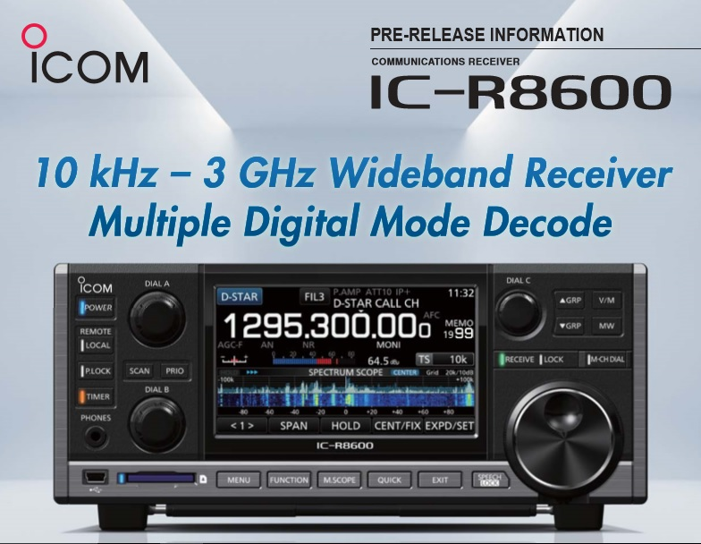 Newly released receiver Icom IC-R 8600 compatible with