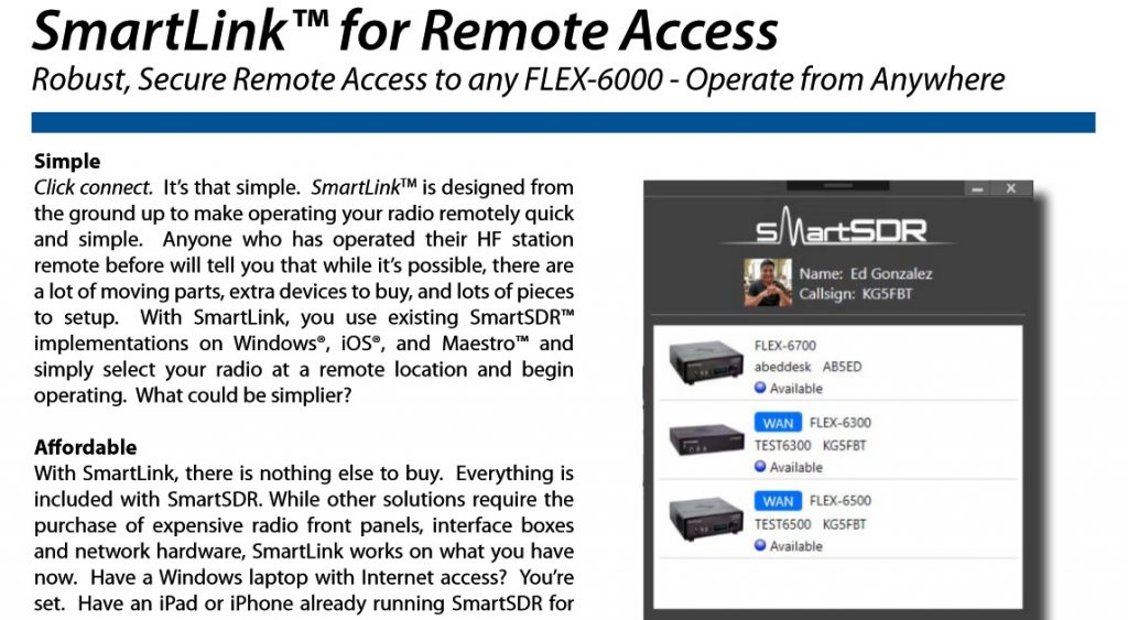 SmartLink™ for Remote Access - FlexRadio
