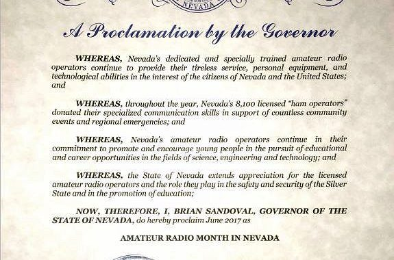 State and Local Governments Honor Amateur Radio in Advance of Field Day 2017