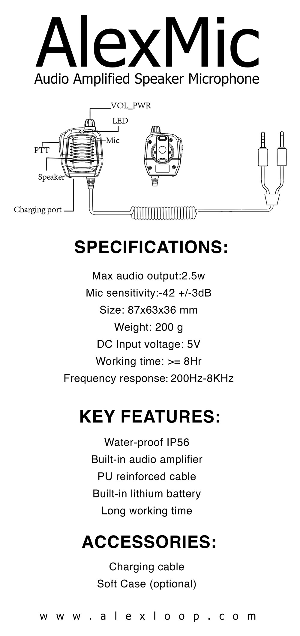 Audio Amplied Speaker Microphone designed for the Elecraft KX 2 and