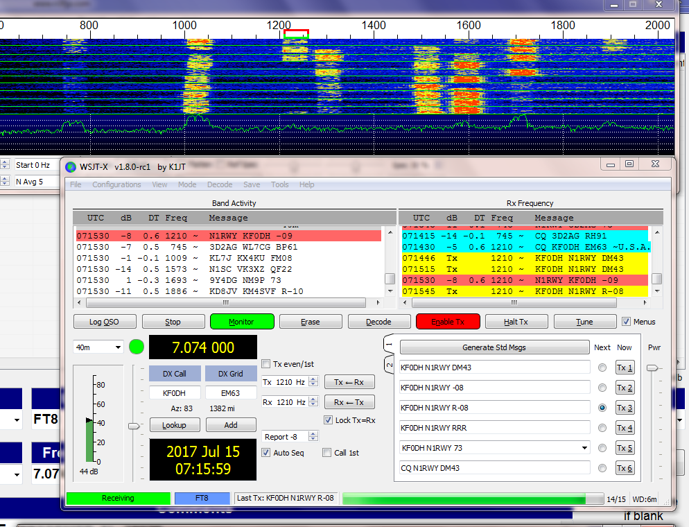 WSJT-X Version 1.8.0-rc2
