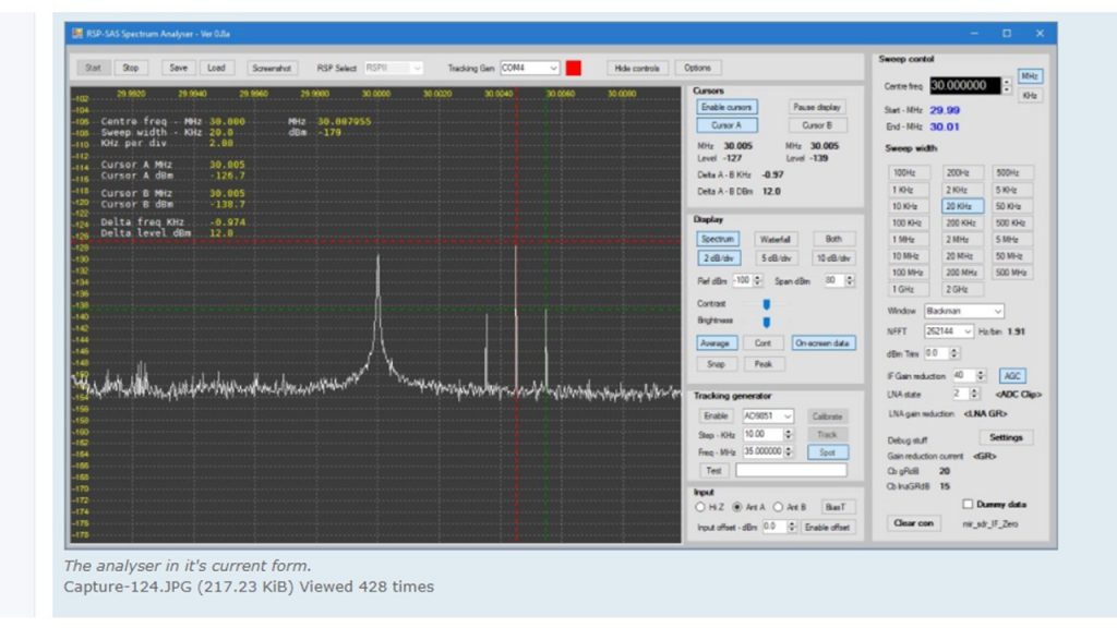 New Spectrum Analyser function for RSPs: Alpha release later in May