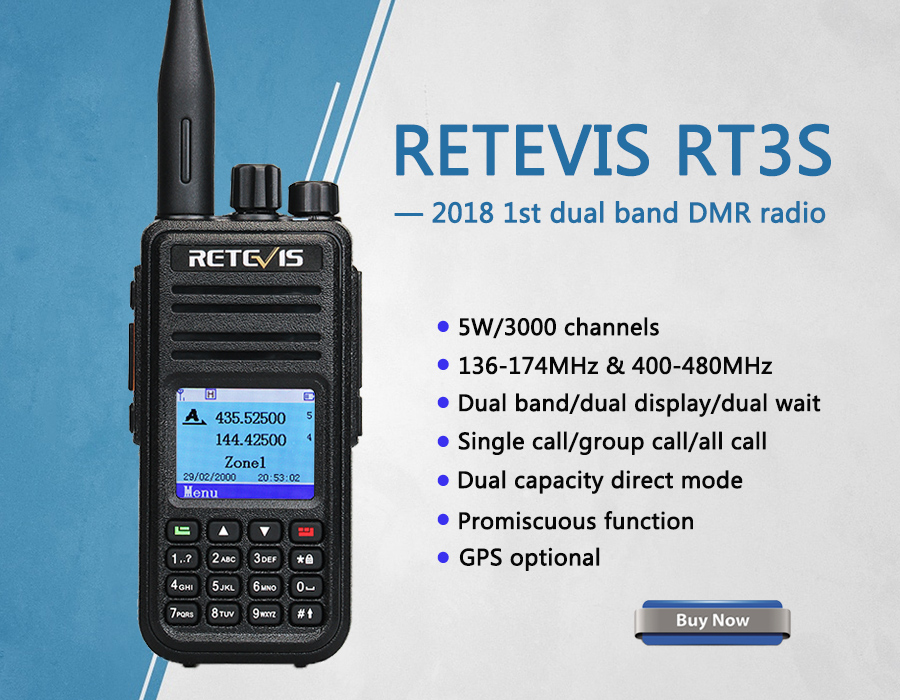 Retevis RT3S Dual Band DMR Radio With GPS & Record + Programming