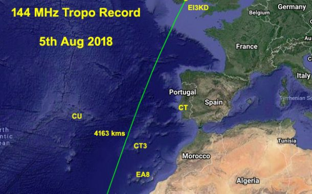 EI3KD works Cape Verde on 144 MHz to set new Region 1 DX record