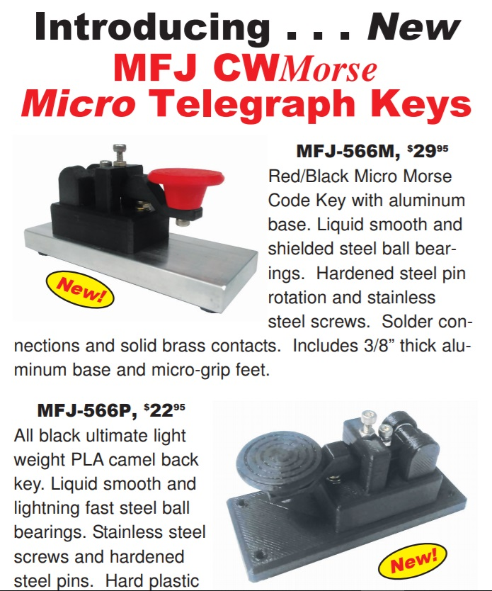 Introducing . . . New MFJ CWMorse Micro Telegraph Keys