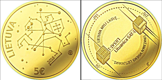 Ham radio satellites on 5 Euro coin