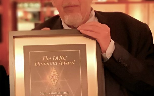 Hans Zimmermann, HB9AQS/F5VKP, Receives IARU Diamond Award