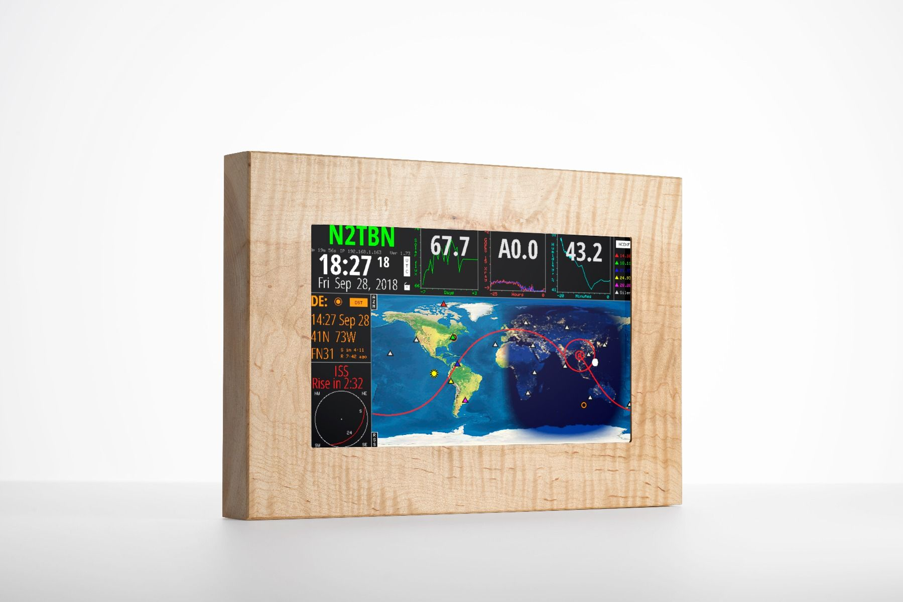 HF Clock / Satellite Tracker /Solar Index Touchscreen Terminal