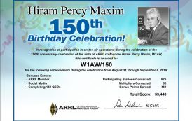 Hiram Percy Maxim Birthday Celebration Results and Certificates Now Available