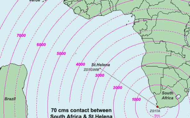3000km plus contact made on 433 MHz from St.Helena to South Africa