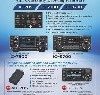 New Firmware Icom Updates for the IC-705, IC-7300, IC-9700 to include Smoother FT8 Mode Operation